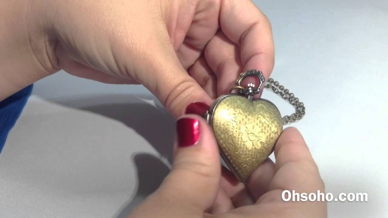 Long gold antique color heart shaped locket clock pendant necklace long gold antique color heart shaped locket clock pendant necklace aloadofball Image collections