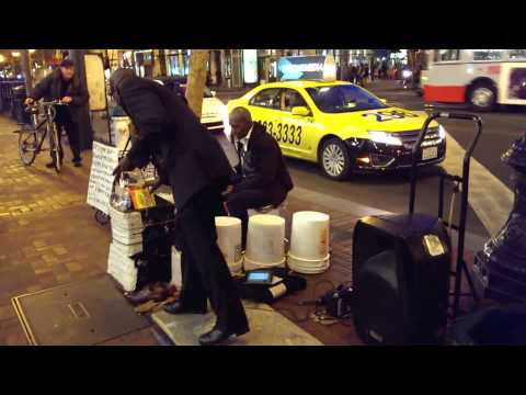 "jamming until the police comes :-).. Larry ""Bucketman"" Hunt with Edward V. Jackson"