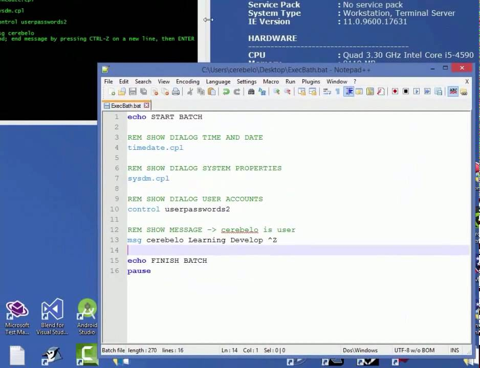 Executing commands from BATCH and VBS