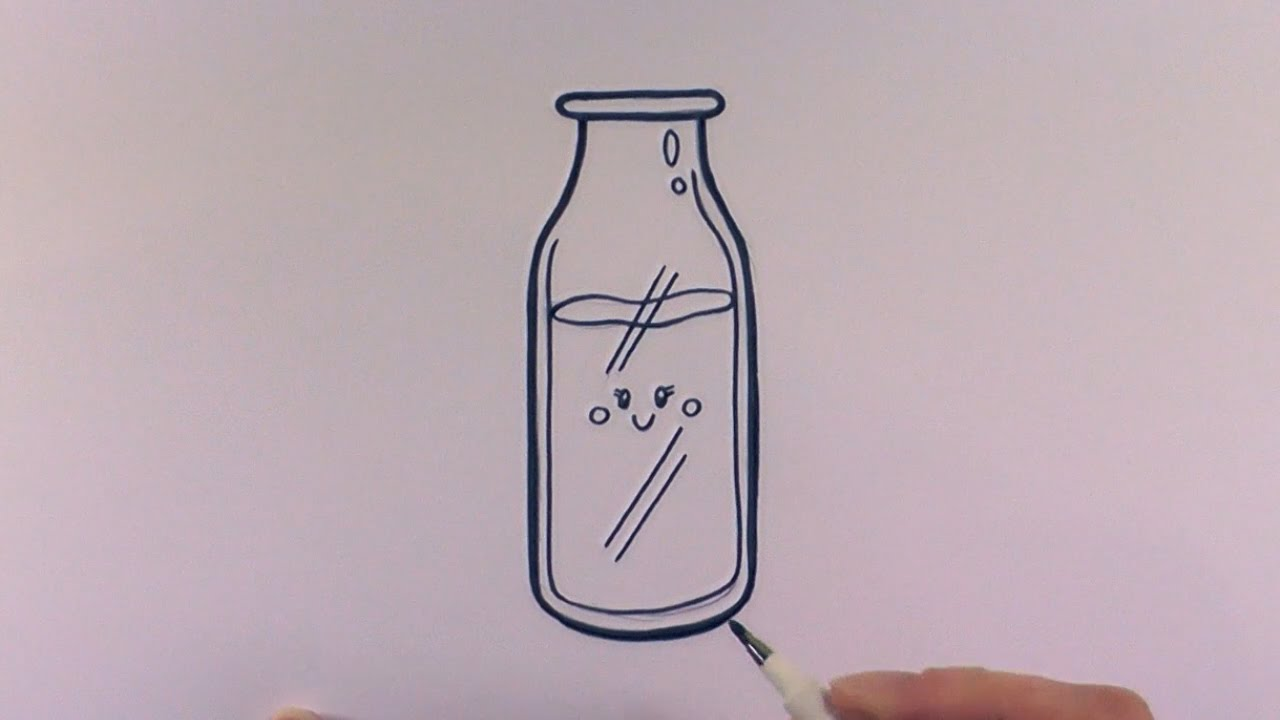 How To Draw A Cartoon Bottle Of Milk Youtube
