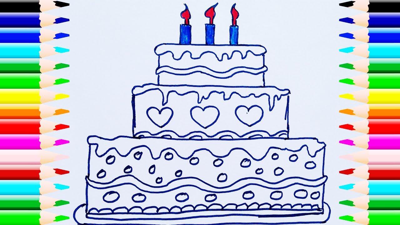 Como Dibujar y Colorear Una Torta de Cumpleaños | Dibujos Para Niños ...