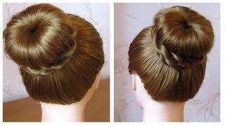 Comment faire un chignon sans donut 💗 How to make bun hairstyle without donut