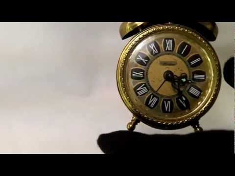 VINTAGE GERMAN LINDEN MINI BRASS WINDING ALARM CLOCK