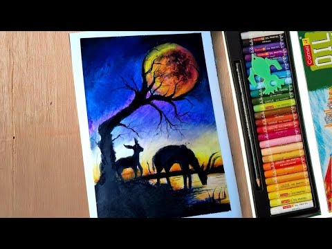 Beautiful sunset scenery landscape painting – for beginners/ how to draw landscape/ mother and deer