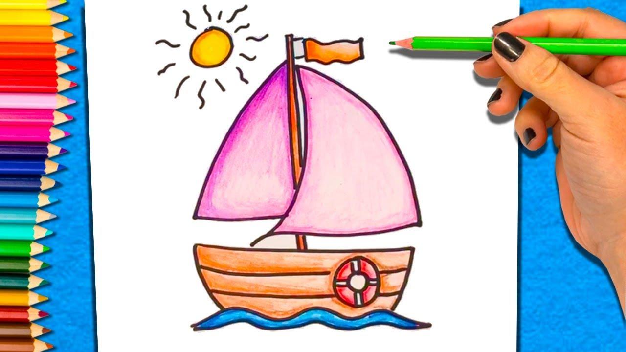 Cómo Dibujar y Colorear un Barco | Dibujos Para Niños | Aprender a ...