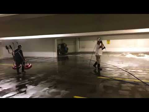 Hydro Pressure Washing - Parking Structure Surface Clean and Power Wash