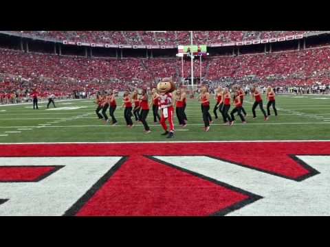 Ohio State Dance Team With Brutus Buckeye