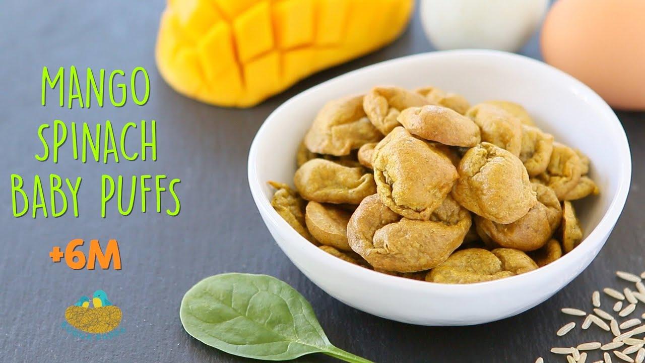 Mango Spinach Baby Puffs Recipe +6M