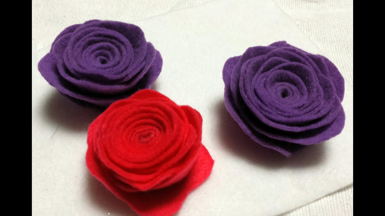 How To Make Rolled Roses From Felt Youtube