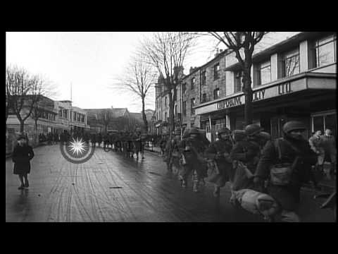 American troops in Falmouth England before D-Day during World War II. HD Stock Footage