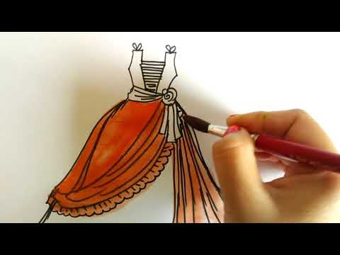 How To Draw Beautiful Girls Dresses - Drawing And Coloring Fashion clothes