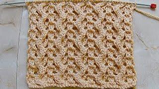 Узор змейка с ажурными дорожками Вязание спицами Видеоурок 247