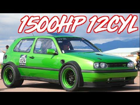 """1500HP VW Golf Twin Engine + Twin Turbo """"VR12 TT"""""""