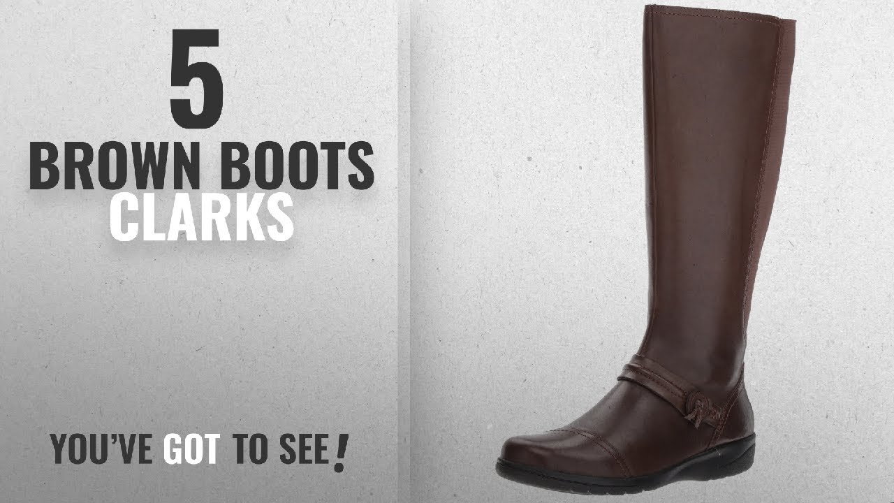 081f52e8d35 Top 5 Brown Boots Clarks [2018]: CLARKS Women's Cheyn Whisk Riding Boot,  Dark Brown, 8.5 W US