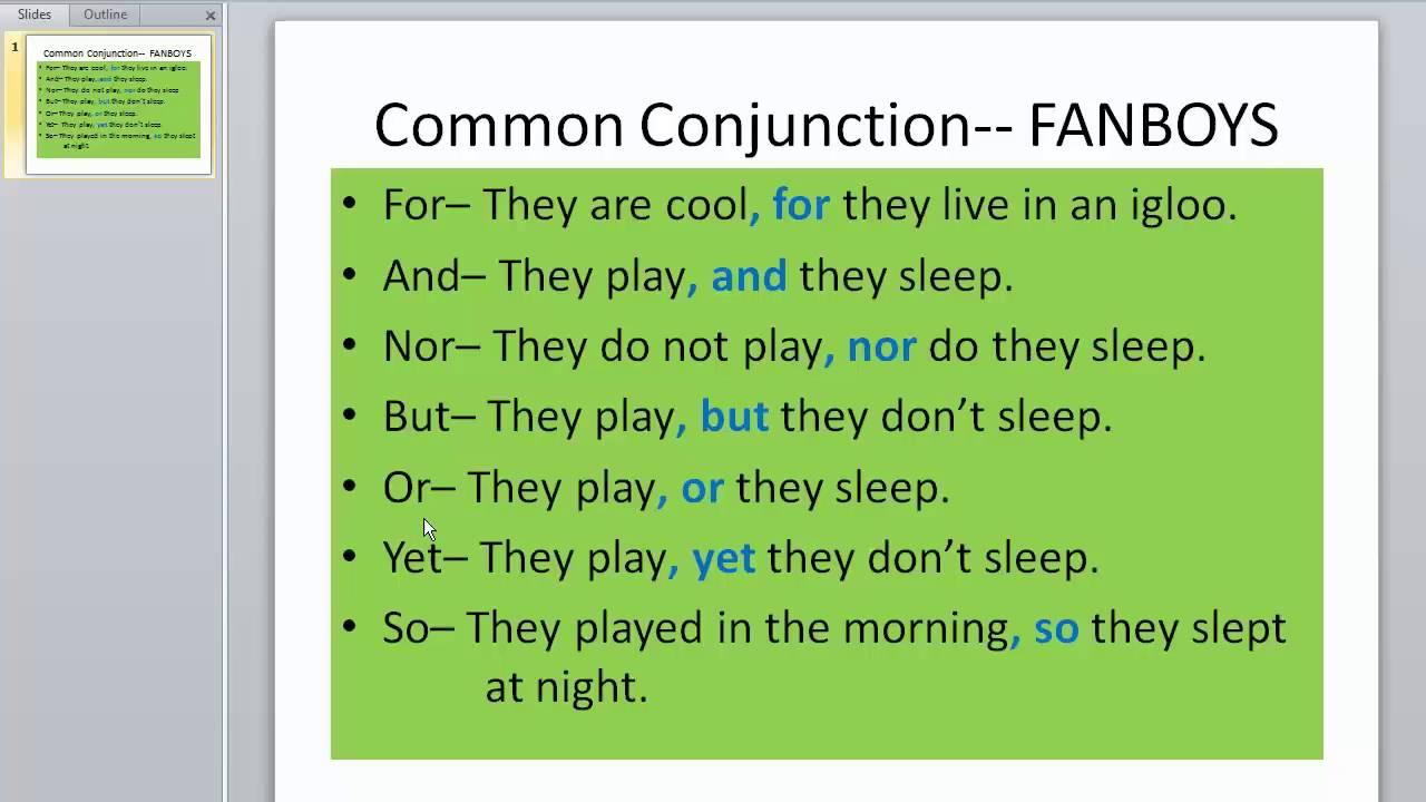 grammar conjunction fanboys