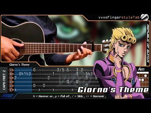 Giorno's Theme - JoJo's Bizarre Adventure: Golden Wind - Fingerstyle Guitar Cover + TABS Tutorial