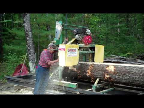 Moving Logs and Sawing Lumber with Thomas Bandsaw Mill
