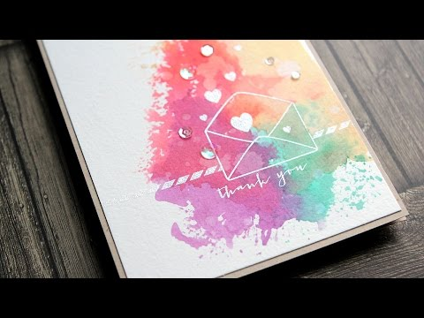 Colorful Ink 'Smooshing' Thank You Card