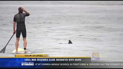 Amazing San Diego Photo with shark and stand-up paddle-boarder