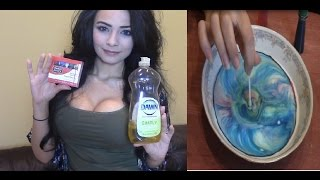 ASMR Fun Colorful Dish Soap and Milk Experiment Tutorial (Softly Spoken Nail Tapping)