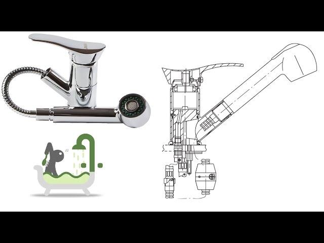Установка смесителя для кухни с выдвижной лейкой FERRO серии Padwa (www.santehimport.com)