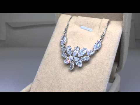 'Blossoming of Love' Marquise-cut Swiss CZ Diamond Bridal Pendant Necklace