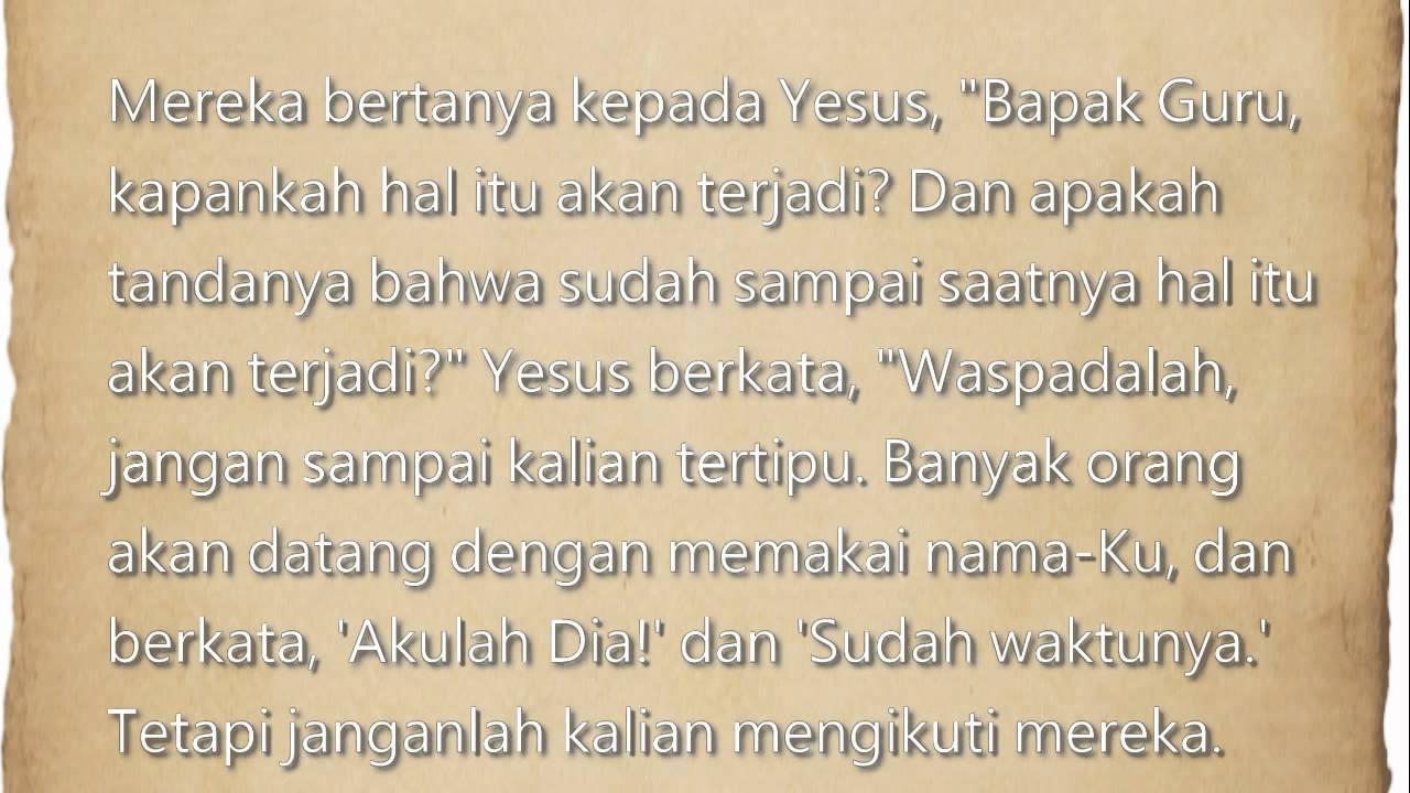 Akhir Zaman Apa Kata Yesus