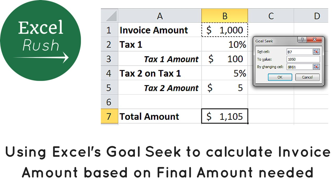 Using Goal Seek In Excel To Calculate Invoice Amount Discount - Invoice value