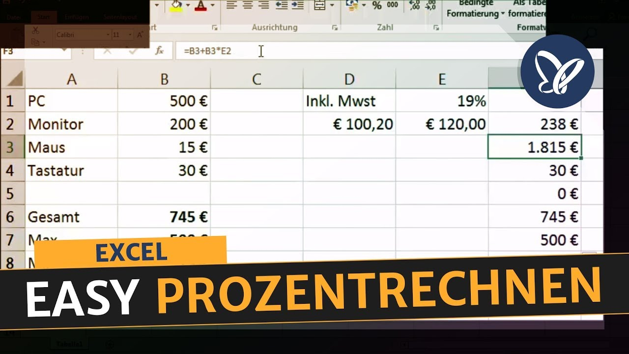 Excel Tutorial Prozentrechnen In Excel Youtube
