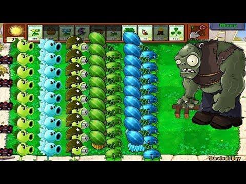 Plants vs Zombies - Gatling Pea vs Winter Melon vs 999 Zombies