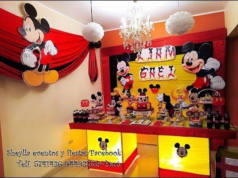 Decoracion de mickey mouse, fiesta tematica, mesa de dulces, torta, personalizados, cumpleaños