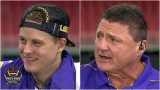 Coach Ed Orgeron and Joe Burrow reflect on LSU's SEC title victory | College Football
