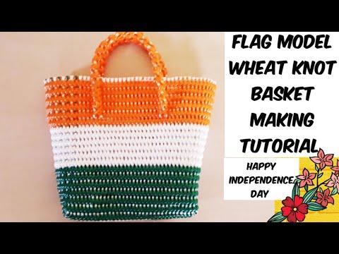 Tamil-wheat knot basket making tutorial [flag model ]