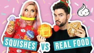 SQUISHES vs REAL FOOD challenge! 😱 Stuu i Agnieszka Grzelak Vlog