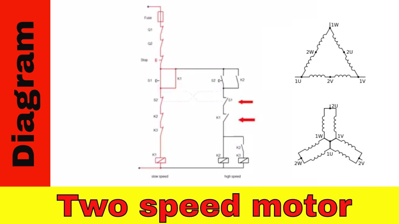 Wiring diagram for two speed motor. 3ph 2 speed motor. - YouTube