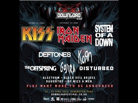 Download Festival 2020 headliners are KISS, Iron Maiden + System Of A Down!