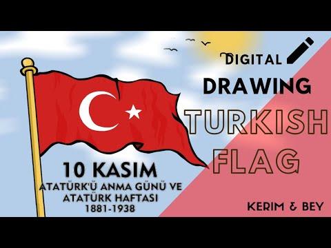 10 Kasım Özel Türk Bayrağı Çizimi / Drawing Turkish Flag [Speed Drawing - Kerim Bey]