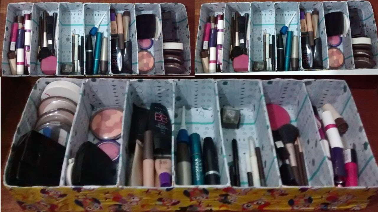 Suficiente Como fazer organizador de maquiagem (ou gavetas) com caixa de  VA84