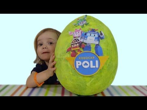 Видео, Поли Робокар огромное яйцо с сюрпризом обзор игрушек