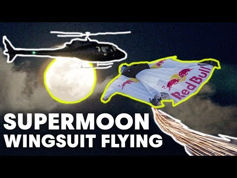 Human 'Meteor' Flight Over Los Angeles Supermoon