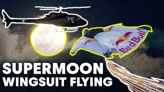 Human 'Meteor' Flight Over Los Angeles Supermoon