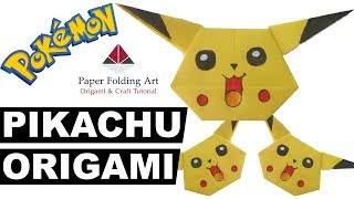 Origami Pikachu-How To Make Origami Pikachu-Pokemon Cartoon Character-Paper Craft-Paper Folding Art