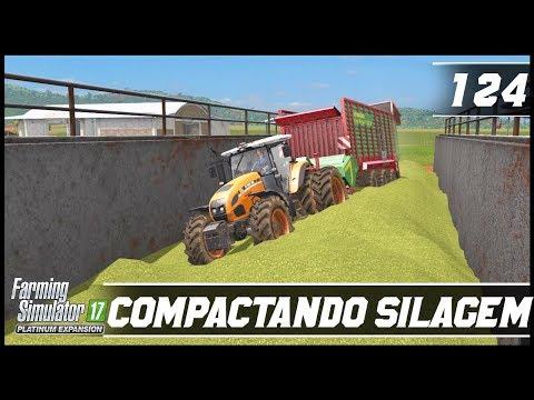 COMPACTANDO SILAGEM DE GRAMA! | FARMING SIMULATOR 17 PLATINUM EDITION #124 [PT-BR]
