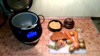 Домашние видео рецепты - гороховый суп со свиными ребрышками в мультиварке