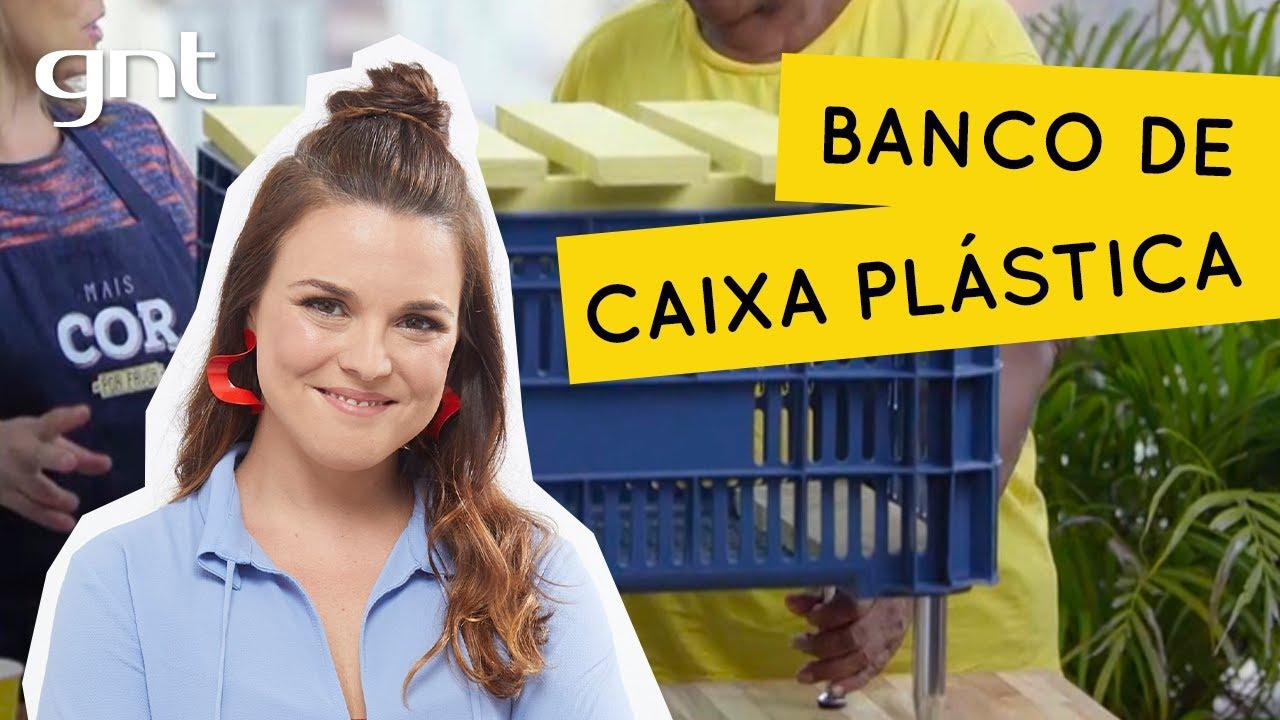 Como fazer um banco reaproveitando caixote de plástico   Faça Você Mesmo   Thalita Carvalho