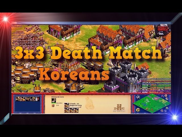 Age of Empires 2 HD 3x3 Green Arabia Death Match Koreans Gameplay PT BR