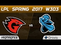 GT vs NB Highlights Game 1 LPL Spring 2017 W3D3 Game Talents vs NewBee