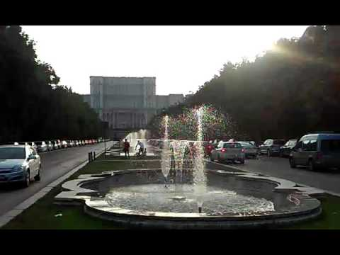 Fountains at Parliament Palace Bucharest Romania