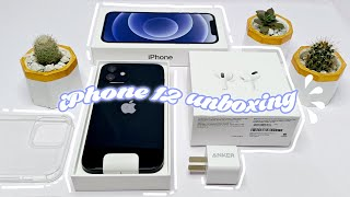 iPhone 12 Black 🖤 Unboxing 📦 + Anker Fast Charger + AirPods Pro + Accessories (aesthetic)