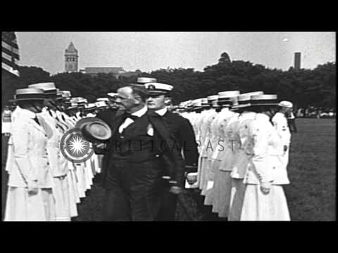 US women nurses parade; Navy Yeomen (female) and women Marines are reviewed, on R...HD Stock Footage